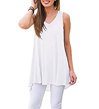 AWULIFFAN Women's Summer Sleeveless V-Neck T-Shirt Short Sleeve Sleepwear Tunic Tops Blouse Shirts (White,S)