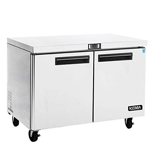 Commercial 2 Door Under Counter Freezer - KITMA 13 Cu. Ft Stainless Steel Worktop Freezer for Restaurant, Kitchen Equipment, 0°F - 8°F