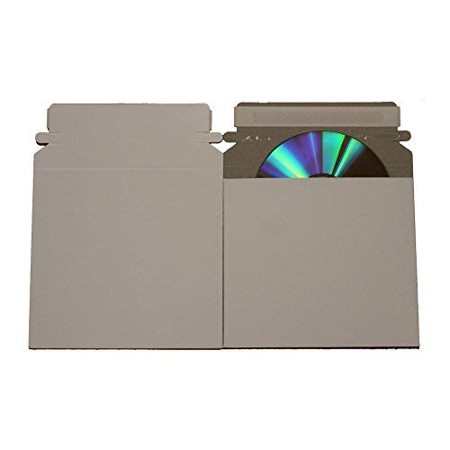 AmeriCopy 100 CD/DVD White Cardboard Mailers, Self Seal Mailers with Flap (6 x 6 3/8) (White) (Cardboard White Mailers Dvd)