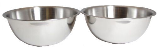 - 3-Quart Heavy-Duty Deep Stainless Steel Flat Base Mixing Bowl (1-Pack of 2)