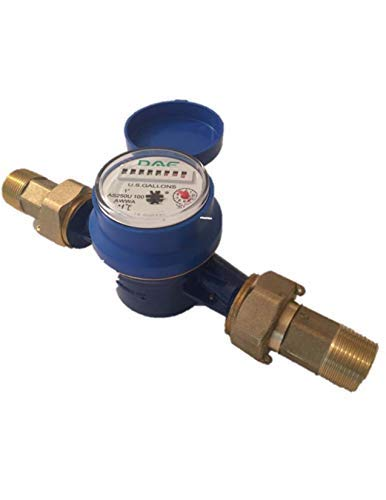 DAE AS250U-100 1'' Water Meter, Measuring in Gallon + Couplings by DAE