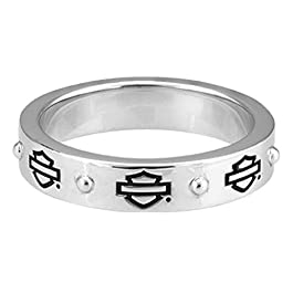 Harley-Davidson Women's Bar & Shield Outline Band Stackable Ring, Silver HDR0497