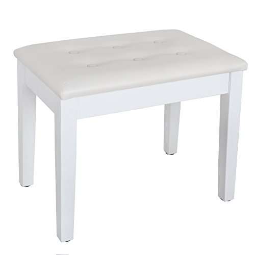ZENY Wooden Piano Bench Faux Leather Padded Seat Electronic Piano Stool Keyboard Bench with Sheet Music Storage,19H (White)