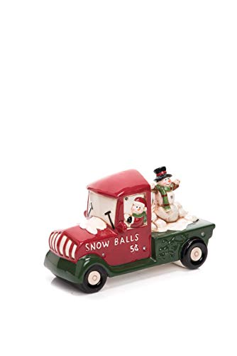 (Transpac Imports D0792 Dolomite Light Up Music Snowman Driving Car Decor, Red)