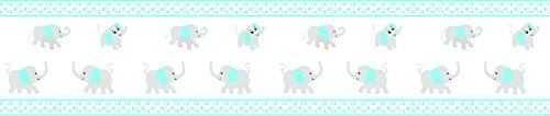 Blizzard Blue Gray Elephant Geenny Peel & Stick Vinyl Wall Border 6 in. x 15 ft per roll (Wallpaper Border Musical)