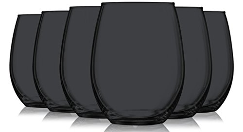 Black Stemless Wine Glasses Fully Colored - 15Êoz. Set of 6- Additional Vibrant Colors Available by TableTop King