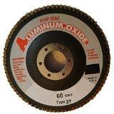 "4 1/2"" x 7/8"" Aluminum/Oxide Type 27 Flap Disc, 60 Grit. Box of 5 discs."