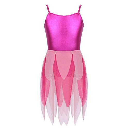 (CHICTRY Girls Metallic Tiered Ruffles Tulle Camisole Leotard Dress for Lyrical Ballet Contemporary Dancing Hot Pink)