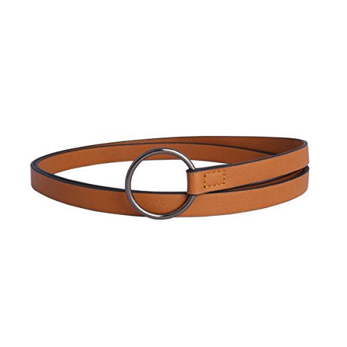 [Damara Womens PU Skinny Waist Belt Dress Jeans Girdle Ring Buckle,Camel] (Ring Cinch Belt)