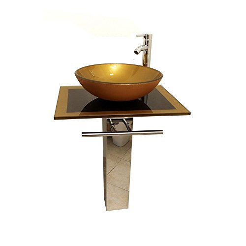 Modetti B076 Modern Bathroom Vanity, Pedestal, Design Round Vessel Sink in Mustard Gold with Chrome Faucet, 24'' L (Vessel Sink Vanity Set)
