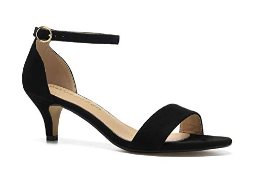 (ComeShun Womens Sexy D'Orsay Ankle Strap Kitten Low Pointed Toe Slip On Pumps Black Shoes Size 7)