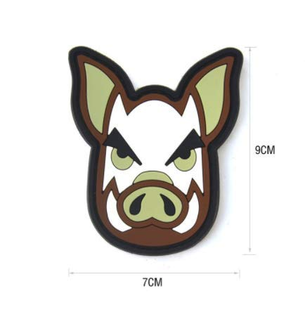 Wild Boar Hog Military PVC Patch Rubber Badges Patch Tactical Stickers for Clothes Back with Hook