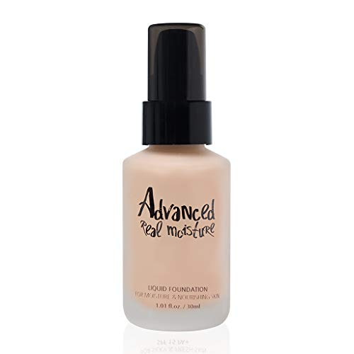 TOUCH IN SOL Advanced Real Moisture Liquid Foundation 1.01 fl. oz. (30ml) - A Light Weight Hydrating Foundation, Long Lasting High Adhesive Coverage (#21 Nude Beige)