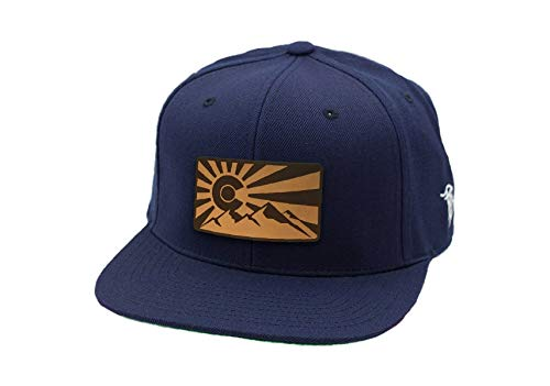 Branded Bills Colorado 'The Rocky Mountain' Leather Patch Snapback Hat - OSFA/Navy ()