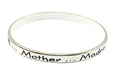 Mother Engraved in Different Languages Bangle Bracelet Madre Mutter Mama 어머니 母親