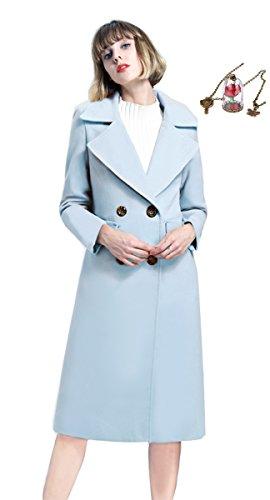 Veste En Laine d'automne Et d'hiver a t significativement Mince Double-poitrine Col Grand Col laine Manteau Bleu Clair