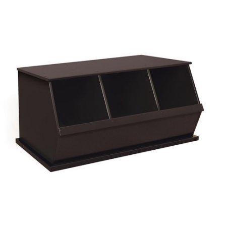 Stackable Three-Bin Storage Cubby, Multiple Colors, Children's Storage Organizer, Playroom Set, Kid's Furniture, Three-Bin Design, Cubby Wooden Storage Space, Toy Chest, BONUS e-book (Espresso) by Best Care LLC