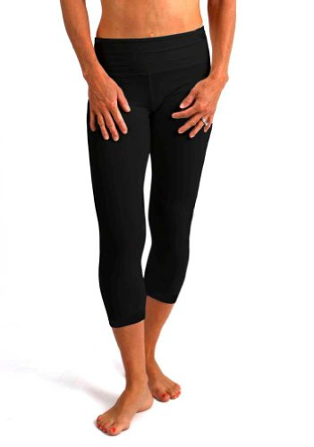 Spun Bamboo Women's Bamboo/Organic Cotton Capri Pant-Large-Black