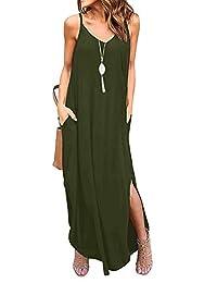 INIBUD Summer Dresses for Women V Neck Strappy Cami Dress with Pockets 2 Side Split