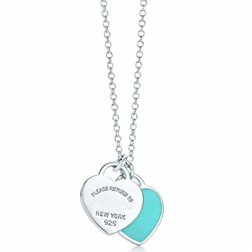 Double Heart Tag Necklace - 925 Sterling Silver Necklace Mini Double Heart Tag Pendant Blue Pink (Blue)