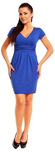 Zeta Ville Jersey Minivestido corte imperio Vestido cuello V - para mujer - 806z Azul Real