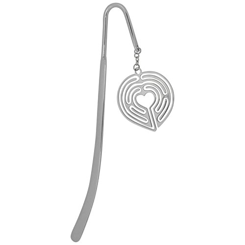Finger Labyrinth Jewelry, Silver Heart Shaped Bookmarks, Book Mark, Book Marker Stick for Books, Book Lovers & Readers, for Women,Kids, Men, Girls & Boys ♥ A LabyrinthLady Gift Idea ()