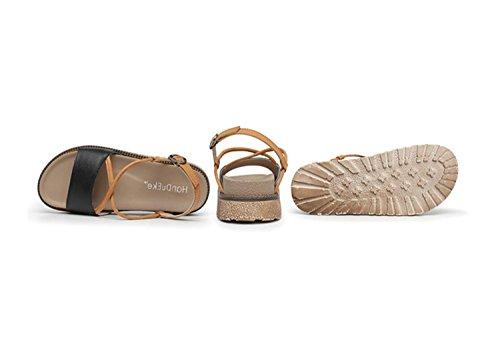 Chaussures Grande Moyen Sandales Talon Femmes Filles Rome Noir Taille Confortable 43 à Sandales Fashion Blanc College Black 34 Chaussons Semelles Épaisses Casual tZd8wqw