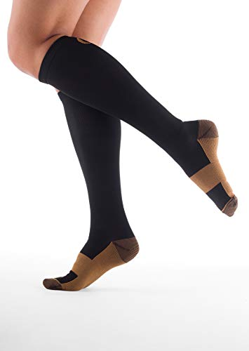 Alpha Copper Infused Compression Socks for Men and Women (3 Pairs), Perfect for Running, Athletic, Medical, Pregnancy and Travel - 15-20mmHg (Black, Large/X-Large) by AlphaSole (Image #1)