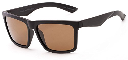 726a9d6c10 Sunglass Warehouse Higgins  5453 Matte Black Frame with Brown Lenses Mens  Retro Square Sunglasses