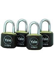 Yale Y110J/15/111/4 Brass hangslot, 15mm, pak van 4, geschikt voor koffers en reistassen