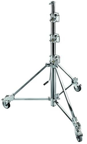 Avenger B7047CS Steel Crank -UP Strato Safe Stand 47 with 3 Sections and Braked Wheels (Chrome)
