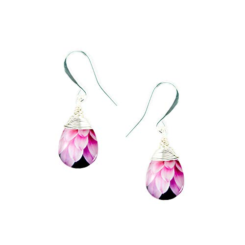 Laura Dangle Drop Earrings, Handmade Wire Wrapped Glass, Pink Gerber Daisy Petals, on Fish Hook Wires ()