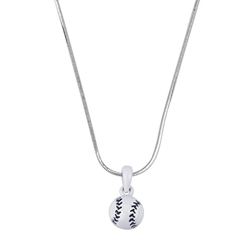 [Lux Accessories White Baseball Delicate Pendant Charm Necklace Beisbol] (Baseball Girl Costume)