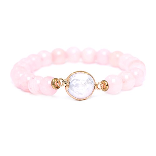 Tom+Alice 8MM Fashion Pink Natural Gemstone Round Beads Stretch Bracelets with Pearl fro Girl Gift Jewelry Gold (Stretch Crystal Pink Bracelet)