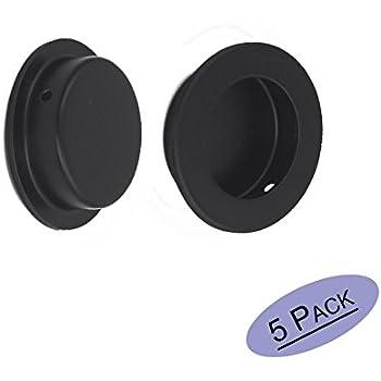 Black Circular Flush Recessed Sliding Door Pull Handles