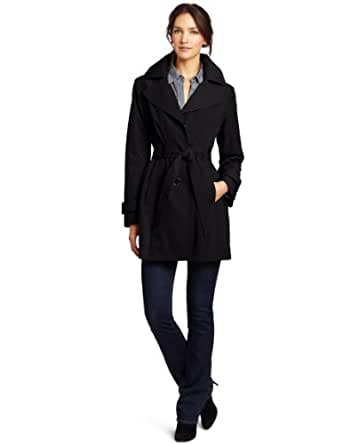 London Fog Women's Amy Trench Coat, Black, X-Large