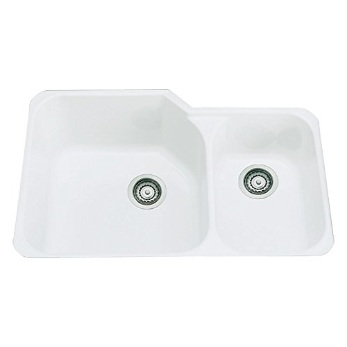 Rohl 6337-00 33-Inch by 22 Inch, 1-1/2 Bowl Allia Undermount Fireclay Kitchen Sink, (1 1/2 Bowl Undermount Sink)