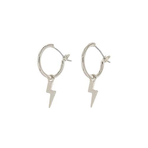 (Columbus Rhodium Plated Lightning Bolt Huggie Hoop Earrings - Dangle Drop Earrings for Women (Silver Lightning Bolts) )