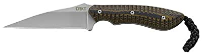 CRKT S.P.E.W. EDC Fixed Blade Knife with Sheath: Compact Utility Neck Knife, Bead Blast Blade, Textured G10 Handle, Nylon Sheath, Belt Loop 2388