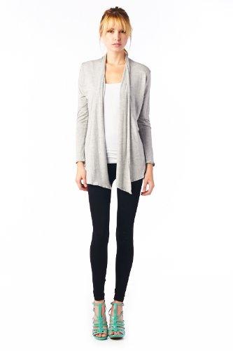 Women'S Rayon Span Super Comfortable Basic Cardigan - Heather Gray L