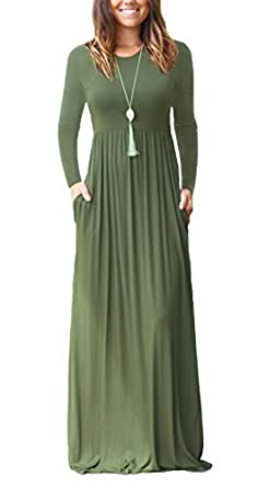 Women's Long Sleeve Loose Plain Long Maxi Casual Dresses with Pockets Army Green Small