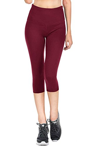 VIV Collection Signature Capri Leggings Soft w Pocket (M, Burgundy)