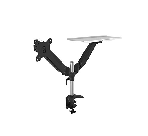 OLLO: Twin Pole Mounted Gas Spring Monitor Mount with Keyboard tray, Snap-on quick Head, +90º/-85º Tilt, 180º Rotation, 0-18 Lbs. Each Arm, Black, Fits Most 15-27' (DP-2K)