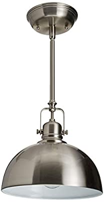 """CANARM IPL222B01BN Polo 1 Light 9"""" Rod Pendant, Brushed Nickel with Painted White Interior"""