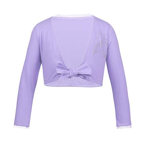 iEFiEL Girls Front Twist Knot Long Sleeve Ballerina Dance Cotton Wrap Top (3-4, Lavender Knot) by iEFiEL