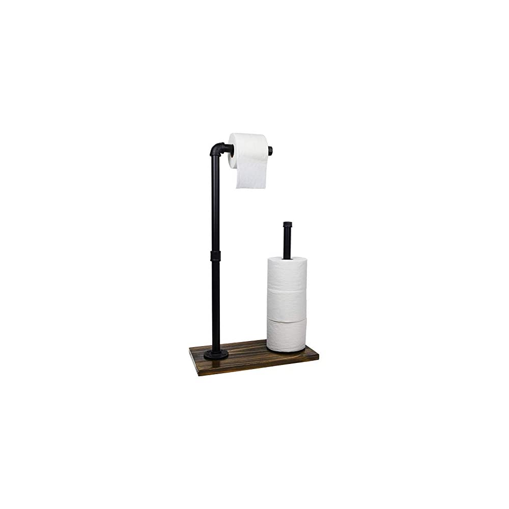 Toilet Paper Holder Stand: Free Standing Toiler Paper Dispenser Bathroom Organizer with Reserve Storage. Industrial Cast…