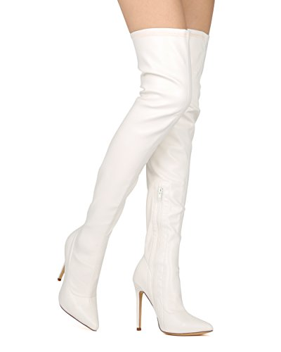 White Knee Boots (Liliana DB54 Women Suede Pointy Toe Thigh High Single Sole Stiletto Boot,7 B(M) US,White Leatherette)