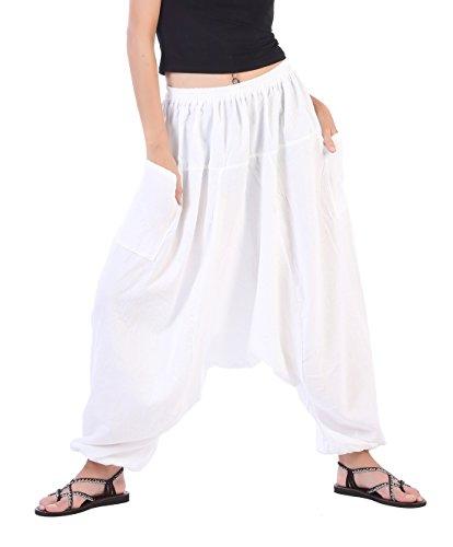 CandyHusky's Men Women 100% Cotton Baggy Boho Yoga Harem Pants (White) one size fits most