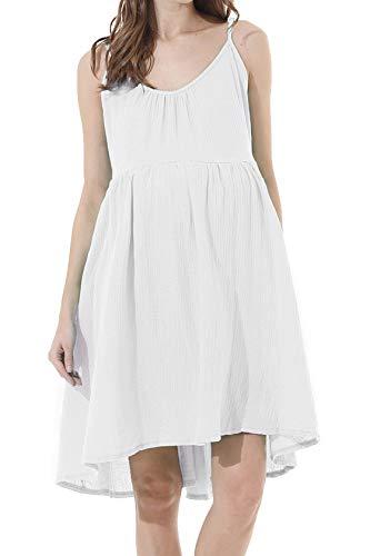 Avv Women's Summer Sleeveless Dress Flared Swing Beach Loose Oversized Dresses (X-Large, White)