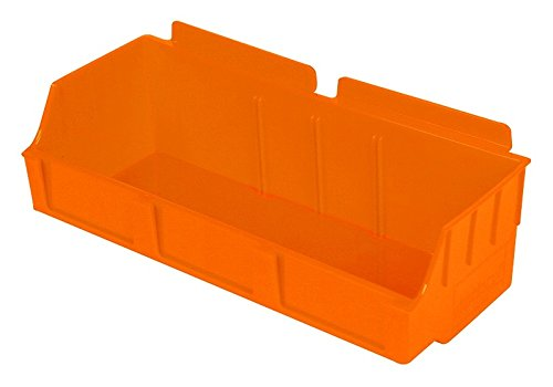 Slatwall Storage / Display bin, Plastic (polypropylene), 4.12''L x 11.37''W x 3.37''H, Orange (12 Pack) Fits grid and pegboard with optional adapters.